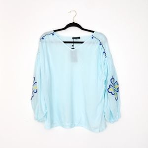 Very J Embroidered Long Sleeve Peasant Blouse S